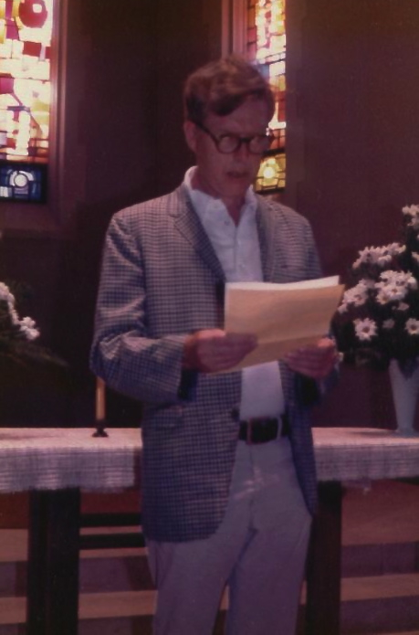 Jonathan Bishop speaking at Nancy Galant's wedding